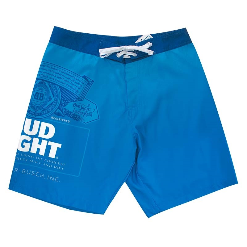 Bud Light Mens Solid Blue Board Shorts